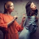 Seduction (forbidden love) concept. Retro portrait of two gorgeo — Stock Photo