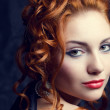 Vintage portrait of a glamourous queen like red-haired (ginger) — Stock Photo