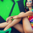 Stock Photo: Portrait of gorgeous fashion model with arty make-up of green &