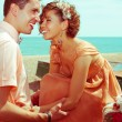 Happy honeymoon (vacation) concept. Young married couple of hips — Stock Photo #29745207