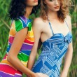 Stock Photo: Portrait of two gorgeous young women (girlfriends) in trendy col