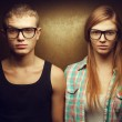 Eyewear concept. Funny portrait of gorgeous red-haired (ginger) — Stock Photo #30167823