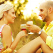 Romantic picnic concept. Portrait of a young loving couple in tr — Stok fotoğraf