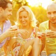 Summer weekend concept. Portrait of happy group of friends in tr — Stock Photo #30594541