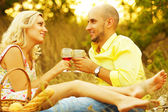 True romance concept. Weekend picnic. Portrait of a young loving — Stock Photo