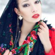 Winter girl in red cardigan with russian kerchief and luxury fas — Stock Photo #30946149
