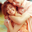 Happy marriage concept. Portrait of a beautiful laughing (smilin — Stock Photo