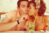 Happy marriage concept. Portrait of a beautiful married couple o — Stock Photo