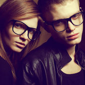 Eyewear concept. Portrait of gorgeous red-haired fashion twins i — Stock Photo