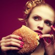 Unhealthy eating. Junk food concept. Portrait of fashionable you — Stock Photo #37426399