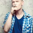 Stock Photo: Stop Smoking Concept. Emotive portrait of a young fashionable hi