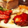 Постер, плакат: Set of fried meat cheese and small meat sausages served with sc