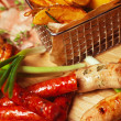 Постер, плакат: Set of fried meat and small meat sausages served with scallion a