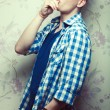 Crazy hipster concept. Emotive profile portrait of young man in — Stock Photo