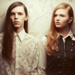 Gothic hipsters concept. Portrait of beautiful long haired peopl — Stock Photo