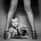 High heels family concept. Stylish baby boy with mother — Stock Photo