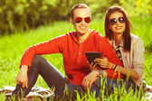 Eyewear concept. Young couple in love having fun in the autumn p — Stock Photo