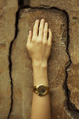 Luxurios accessory concept. Young woman's hand wearing a golden  — Stock Photo