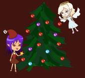 Chibi ángel y demonio con árbol de navidad — Vector de stock