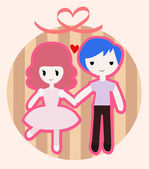 Cute couple — Stock Vector