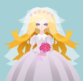 Beautiful anime bride — Vector de stock