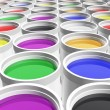 Stock Photo: Cans of paint colors