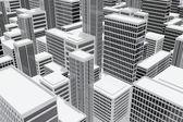 Skyskrapa byggnader i staden — Stockfoto