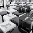 Abstract composition with black and white cubes — Stock Photo