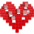 Stock Photo: Red heart formed with cubes