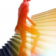Person climbing stairs — Stock Photo