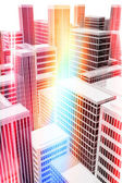 Illuminated office buildings in the city — Stock Photo