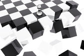 Pawn on collapsing chessboard — Stock Photo