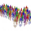Figures in multiple colors forming an arrow — Stock Photo