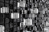 Wall of technological cubes — Stock Photo