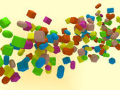 3D background with cubes and capsules — Stock Photo