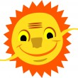 Smiling sun with hands — Stock Vector