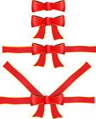 Vector cinta roja con lazo — Vector de stock