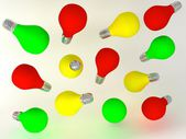 Red yellow green color light bulb — Stock Photo