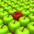 One red apple among background of green apples — Foto de Stock