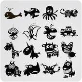 16 vector contour animals — Stock Vector