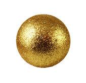 Brinquedo de natal dourado vidro isolado no branco — Foto Stock