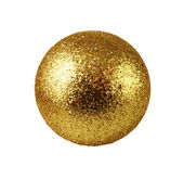 Golden glass Christmas bauble isolated on white — Stok fotoğraf