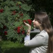 Charming woman and rowan — Stockfoto