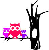 Contour tree with owls — Stock Vector