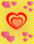 Valentinskarte mit Herzenvalentinskarte mit Vögeln und Blumen — Stockvektor