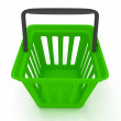 3D rendering of a green shopping basket — 图库照片