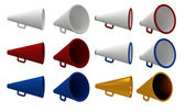 Set of vintage megaphone isolated on white. — Stock Photo