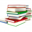 Foto Stock: 3d Stacks of Books and open book on white back