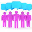Group of stylized pink people with chat bubbles — Stock Photo #34093343