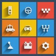 Set of 9 cars web and mobile icons. Vector. — Stock Vector